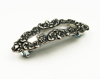 Flower Girl Wedding Barrette - Small Silver Fancy Hair Clip in Victorian Floral Style
