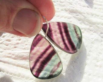 Sale, Very Beautiful Large Fluorite Drop Earrings,  925 Silver , One of a Kind