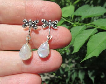Sale, Small and Delicate Genuine Rainbow Moonstone Earrings, 925 Silver