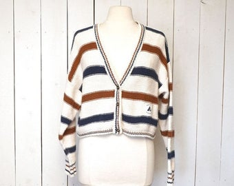 34% Off Sale - Cropped Cardigan Sweater 1980s Cotton Striped Nautical Long Sleeve Womens Vintage Sweater Medium Large