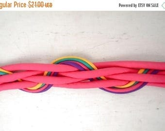FIRE SALE 25% Off Neon Pink Belt - 1980s Puffy Fabric Belt - Jem and the Holograms - Punk Club Kid Rave Festival Belt