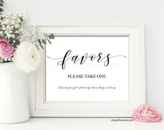 Printable Favors Sign, Wedding Sign, Wedding Thank You, Wedding Printable, (2) JPEG Files, You Print, You Frame