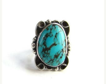 ON SALE Navajo Style Turquoise Ring Size 6.5 Black Matrix Sterling Silver Southwestern Indian Jewelry