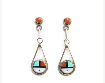 ON SALE Native American Zuni Sun Face Inlay Pierced  Earrings Turquoise Coral Jet Shell Sterling Silver