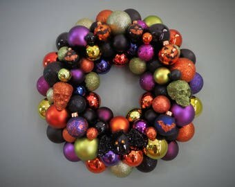 HALLOWEEN Wreath  Orange Black Frankenstein Green Purple Ornament Wreath with BAT