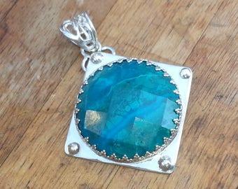 Chrysocolla Sterling Silver Pendant