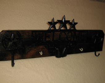 Stars and Guns ( 2 person coat and key rack )