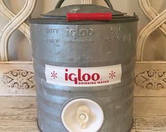 Vintage Igloo Galvanized Jug Cooler - 2 Gallon Size - Works Great