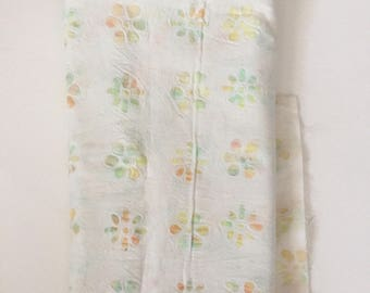 White Floral Batik Cotton Fabric