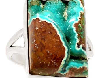 Malachite In Chrysocolla Druzy, Undyed, All Natural Ring. Ring Size 9.5 3437