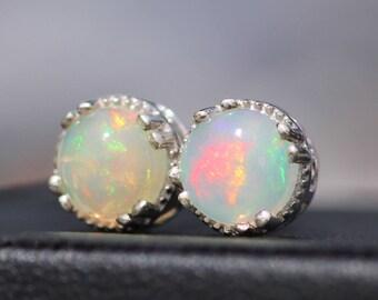 Small 8mm Welo Opal Round Stud Earrings,Genuine Ethiopian Opal Silver Stud,Minimalist Gemstone Post,October Birthstone,OOAK,Gift For Her
