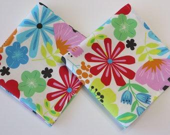 Ladies Handkerchief set of 2 Floral hankerchiefs, floral Hankies, Large Colorful Flowers Handkerchiefs, Handmade cotton Hankies