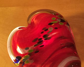 Glass Heart Paperweight valentines