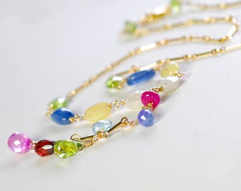 Colorful Multi Gemstone Y Necklace by Agusha.  Sapphire, Topaz, Tanzanite, Garnet, Kyanite and Opal Necklace