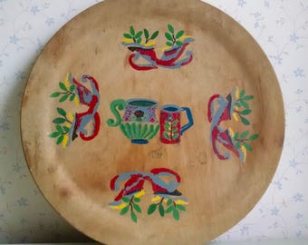 Vintage Painted Wooden Tray