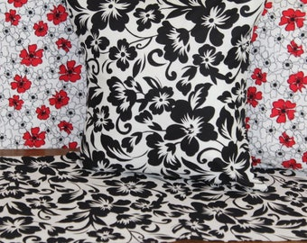 Pillow Covers, Pillow Cases, Red White Black floral prints,  Hawaiian tropical prints.