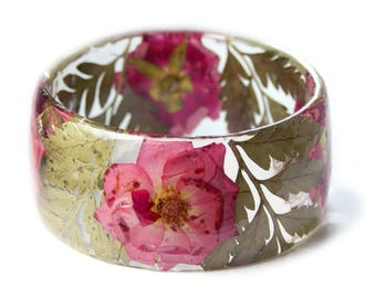 Pink Rose Bracelet -Jewelry with Real Flowers- Dried Flowers- Pink Bracelet - Pink Dried Flowers- Pink Bracelet- Resin Jewelry