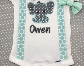 Elephant Onesie with Bow Tie and Suspenders - Elephant Onesie- Personalized with Bow Tie and suspenders - interchangeable bow ties