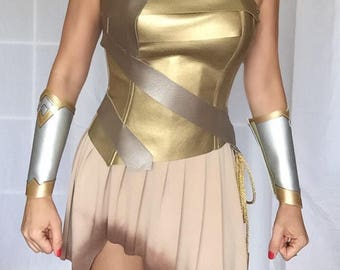 Gal Gadot Wonder Woman Costume  Warrior  Custom Made Sizes XS-L