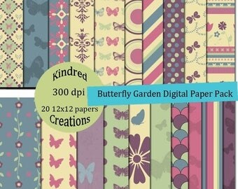 99 Cent Sale Butterfly Garden 12x12 Digital Paper Pack 300 dpi Printable Personal and Commercial use