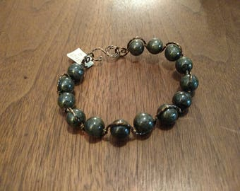 Dark Green Quartzite S-Bend Bracelet (B1248)