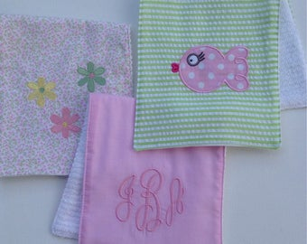 Set of 3 Burp Cloths, mix and match,Made in the USA, bulk rate, infant, baby, newborn, baby shower, absorbent, burp, personalized