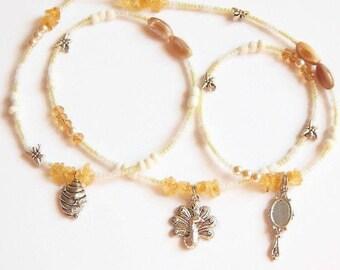 Oshun Waist Beads, Oshun-Honey-Peacock-Handmirror-Dragonfly Waistbeads, Orisha Waist Beads, Osun Belly Chain, African Goddess Waist Beads