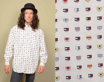 vintage 90s Tommy Hilfiger flag shirt allover print NATO alphabet 1990 hip hop street style button down dress shirt L large 100% cotton