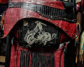 Biker Cowgirl Western Leather Bohemian Bag Hippie Sac Vintage Wool Textures pockets Fringe  Adjustable shoulder strap phone pockets