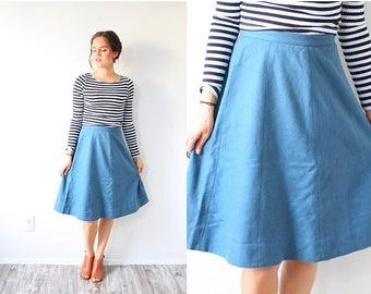 20% OFF JULY 4th SALE Vintage 1950's full blue skirt // summer fall Xs small retro full skirt // modest skirt // 60's skirt // short midi //
