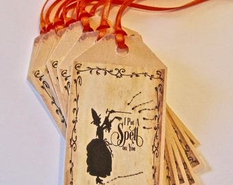 Halloween Witch Thank You Tags, Wedding, Birthday, Hang Tags Lot of 10