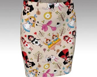Alice In Wonderland Tube Skirt, Alice In Wonderland print Bodycon Skirt, Alice In Wonderland print Skirt By Rooby Lane