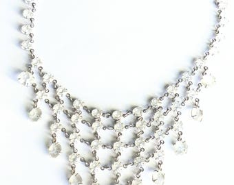 Bib Necklace Clear Plastic Crystals Vintage Prom Homecoming Jewelry Jewellery Accessories Silver Tone Gift Guide Women