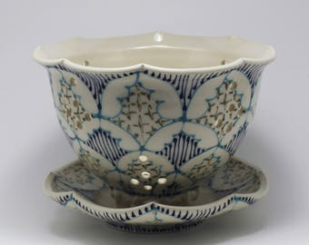 Wheel Thrown Ceramic Handmade Berry Bowl - Small Colander with Turquoise, Navy and Dark Green Pattern