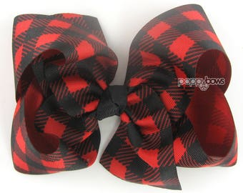"""SHIPS 12/11 Plaid Hair Bow, 6"""" Buffalo Plaid Hair Bow, Red and Black Hair Bows, Girls Hair Bow, Extra Large Hair Bow, 6 Inch Big Cute bows"""