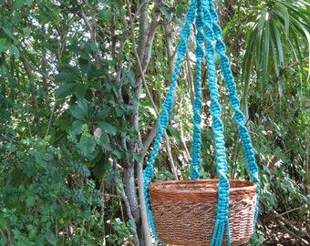 Turquoise 40 Inch No Bead Macrame Plant Hanger