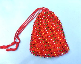 Vintage 60s 70s Orange and Red Crochet and Plastic Beaded Drawstring Bag