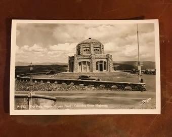 Vintage Black & White Sawyers Vista House Postcard - Crown Point, Columbia River Highway