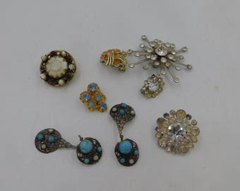 Antique Rhinestone Jewelry Pieces and Parts with Rhinestones and Gemstones for Parts or Repairs