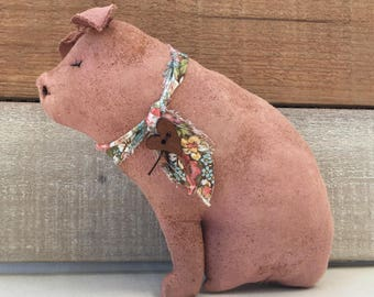 primitive country decor - farm pig - pink pig - country decor - pig decor - shabby cottage decor - primitive hog - country primitive decor