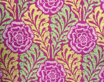Carla Miller Fabric, Lily Rose, Rose Stencil, Floral, Raspberry, Green, Yellow