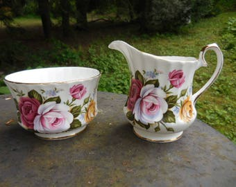 Vintage 1950s to 1960s Fine Bone China Royal Sutherland Staffordshire Made in England Sugar and Creamer Set Pink/Mauve/Purple Roses