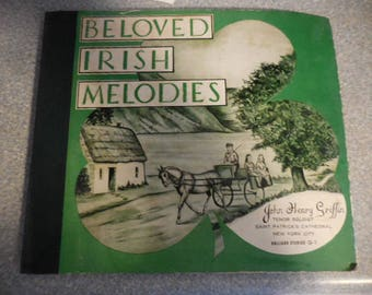 "Vintage 1940s to 1950s 78 Record Set of 3 Albums "" Beloved Irish Melodies"" John Henry Griffin Tenor Soloist Saint Halligan Studios"