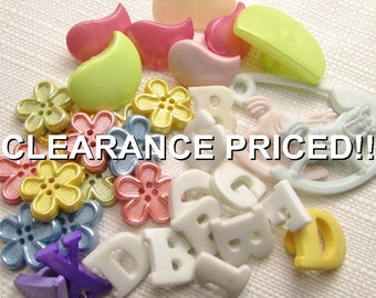 CLEARANCE! Pastel Button Mix: Shaped Button Assortment - Set of 30 New / Unused Buttons