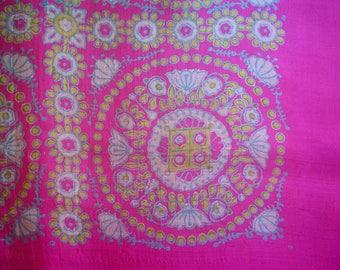 Vintage Silk Sari Magenta Pink Handwoven 1960s Block Printed Silk Saree