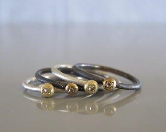 Rough cut diamond stacking ring - Tiny diamond ring, Rough diamond ring made to order