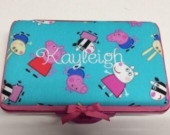 Personalized Kids School Pencil Box Case Peppa Pig