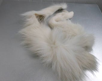 "White Natural Fur Long Hair European 23"" Length Trim Decorate Purse Jewelry Collar Any Craft"