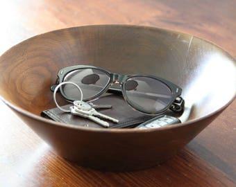 Vintage Wood Bowl, Hand Carved Wood Dish, Valet Tray, Mens Valet, Gift for Him, Trinket Bowl, Hand Crafted, Farmhouse, Margaret Studios
