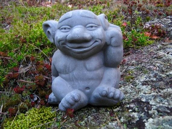 Troll Statue, Cute Gargoyle Cement Figure, Concrete Garden Decor, Concrete  Statues, Fantasy Statue, Concrete Troll, Garden Statue, Yard Art